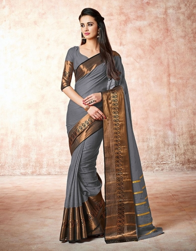 Maarit flint silver Cotton Saree