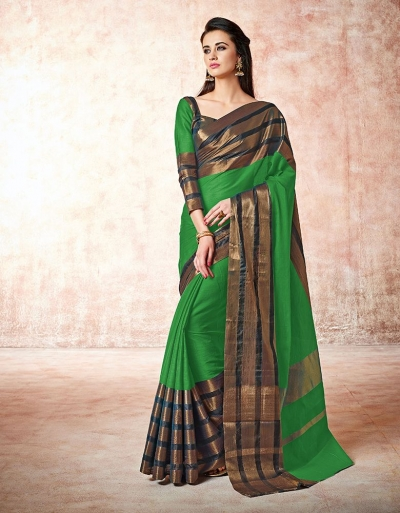 Caris clover green Cotton Sarees