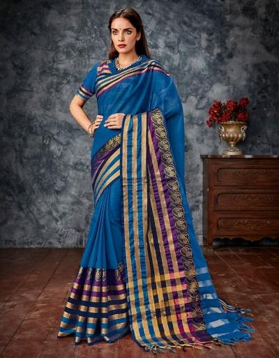 Miloni Blue Cotton Saree