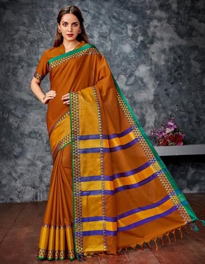 Meera Rust Orange Cotton Saree