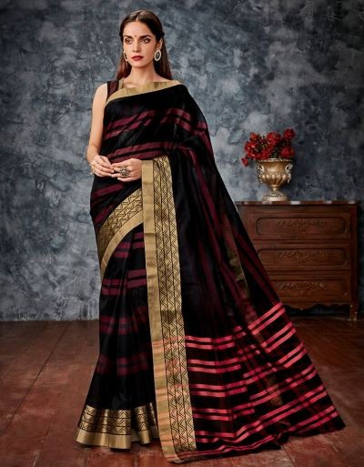 Tamanna Black Cotton Saree