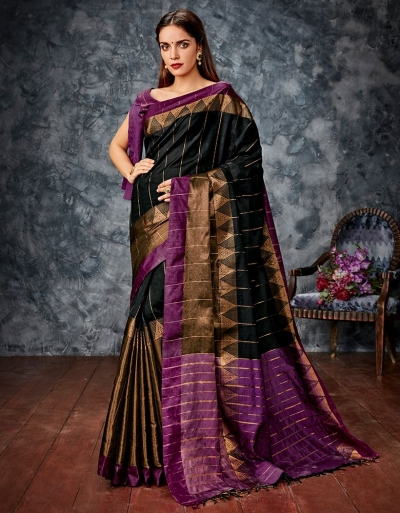 Kusha Black Cotton Saree