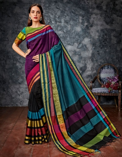 Zeba Multicolour Cotton Saree