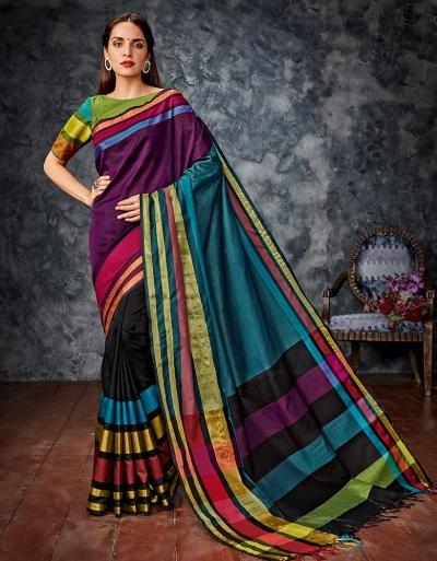Zeba Multicolour Cotton Saree
