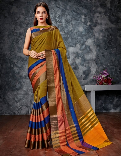 Akriti Mustard Cotton Saree