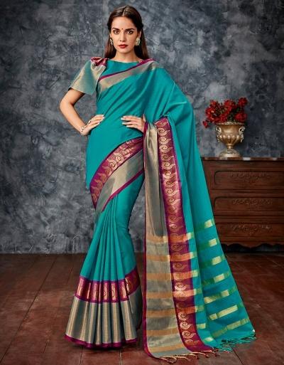 Sonia Blue Cotton Saree