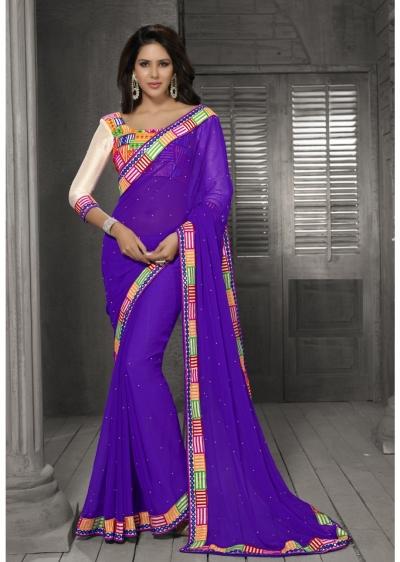 Purple Color Border Worked Chiffon Saree 40012