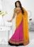 Pink Net Georgette Bandhej Printed Half n Half Lehenga Saree 46001