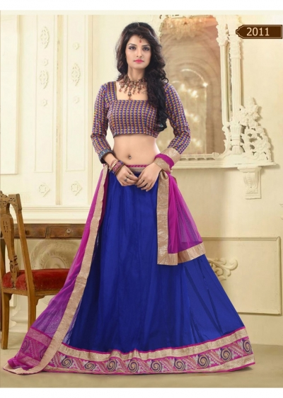 Blue Colored Border Worked Net Satin Lehenga Choli 2011