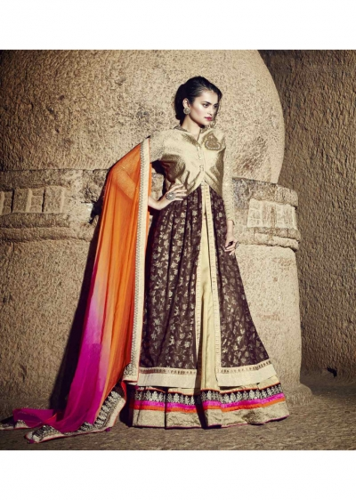 Golden Colored Embroidered Shimmer Georgette Lehenga Choli 88013