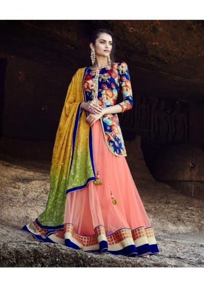 Peach Colored Embroidered Net Lehenga Choli 88014