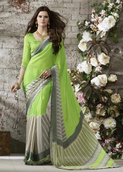 Green Colored Printed Satin Chiffon Saree 1122