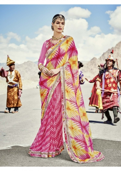 Magneta Colored Printed Georgette Chiffon Saree 2004