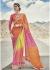 Multi Colored Printed Georgette Chiffon Saree 2006