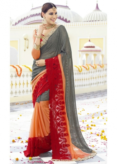 Grey Colored Embroidered Faux Georgette Festive Saree 96064