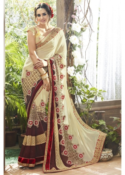 Off White Colored Embroidered Faux Georgette Partywear Saree 87059