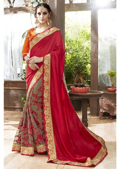 Grey Colored Embroidered Art Silk Georgette Partywear Saree 87062