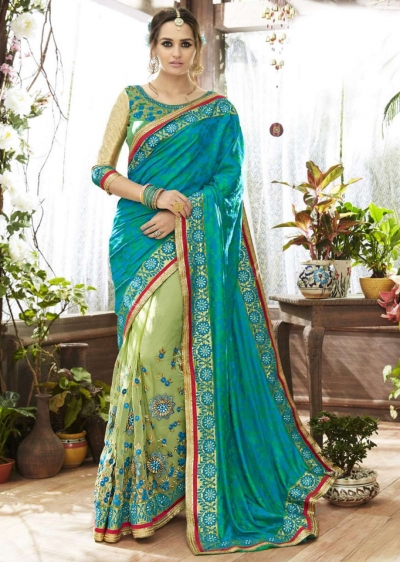 SkyBlue Art Silk Net Half n Half Embroidered Saree 87066