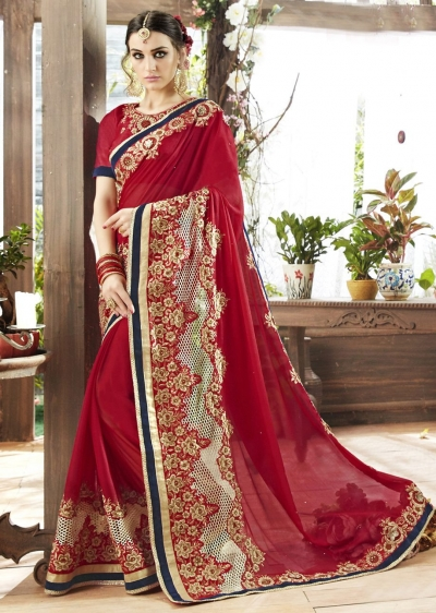 Red Colored Embroidered Georgette Satin Partywear Saree 87067