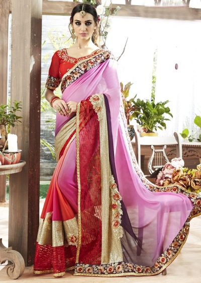 Pink Colored Border Worked Faux Georgette Festive Saree 87069