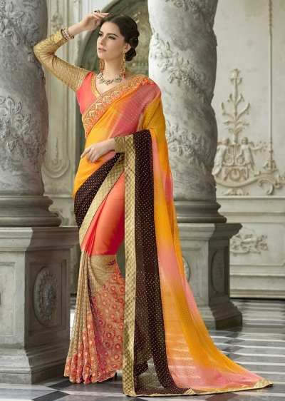 Orange Colored Border Worked Chiffon Festive Saree 97052