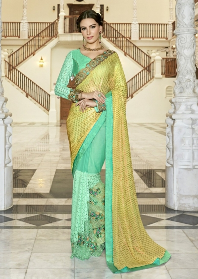 Green Colored Border Worked Faux Georgette Festive Saree 97055