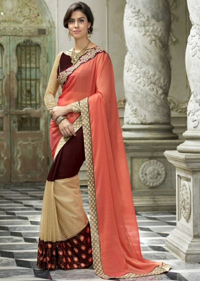 Brown Colored Border Worked Georgette Chiffon Festive Saree 97056