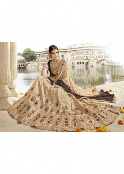 Beige Colored Embroidered Art Silk Wedding Lehenga Choli 1303
