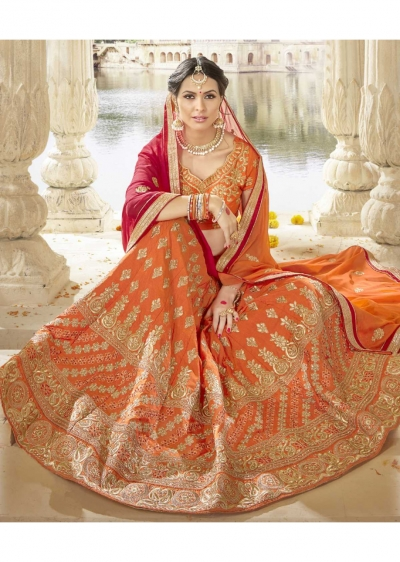 Orange Colored Embroidered Art Silk Bridal Lehenga Choli 1305