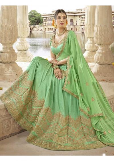 Green Colored Embroidered Art Silk Wedding Lehenga Choli 1307