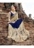 Blue Colored Embroidered Crape Net Partywear Saree 1033