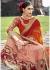 Peach Chiffon Half n Half Embroidered Saree 1038