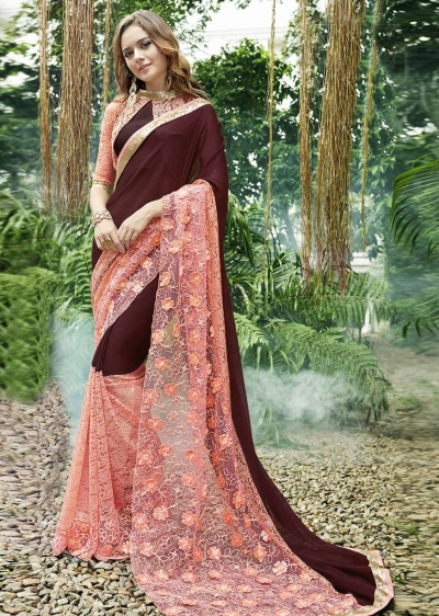 Brown Colored Embroidered Chiffon Festive Saree 96070