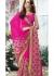 Magenta Colored Border Worked Chiffon Festive Saree 96073