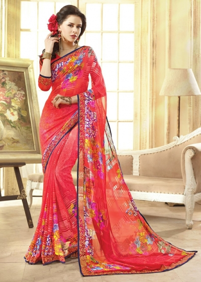 Pink Colored Printed Faux Georgette Saree 75041