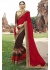 Brown Colored Embroidered Faux Georgette Festive Saree 87073