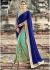 Blue Colored Embroidered Faux Georgette Net Partywear Saree 87076