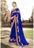 Blue Colored Embroidered Faux Georgette Wedding Saree 87078
