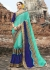 Skyblue Colored Embroidered Faux Georgette Partywear Saree 87080