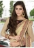 Brown Colored Embroidered Faux Georgette Partywear Saree 87087