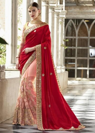 Peach Colored Embroidered Net Chiffon Art Silk Wedding Saree 1041