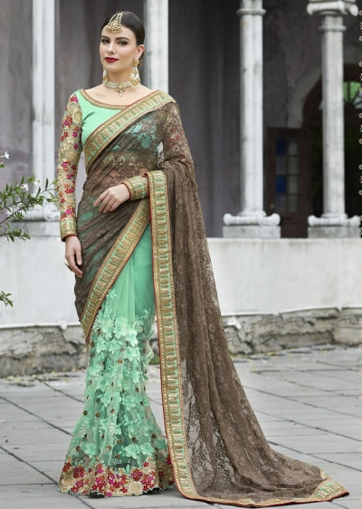 Green Colored Embroidered Brasso Net Partywear Saree 1042