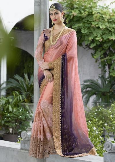 Peach Colored Border Worked Satin Chiffon Wedding Saree 1043