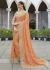 Peach Colored Border Worked Shimmer Wedding Saree 1044
