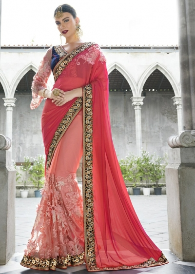 Peach Colored Border Worked Chiffon Net Partywear Saree 1045