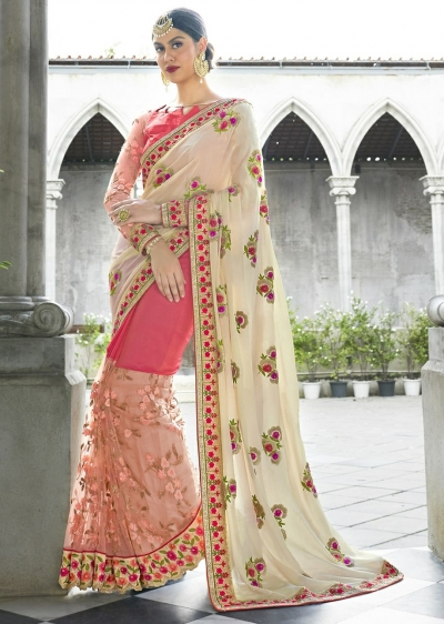 Off White Colored Embroidered Chiffon Net Wedding Saree 1048