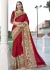 Red Georgette Net Traditional Embroidered Saree 1405