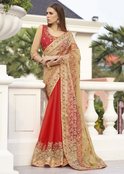 Beige Colored Embroidered Faux Georgette Net Festive Saree 1406