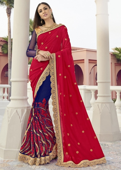 Blue Colored Embroidered Faux Georgette Festive Saree 1407