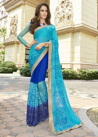 Blue Colored Embroidered Georgette Net Festive Saree 97058